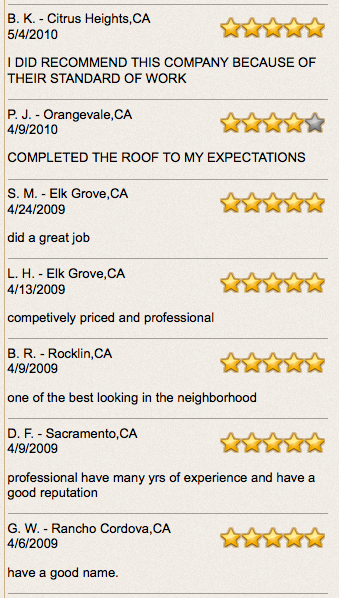 roofing testimonails reviews