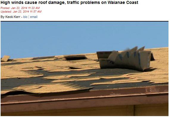 high winds cause roof damage traffic problems on waianae coast