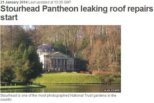 stourhead pantheon leaking roof repairs start