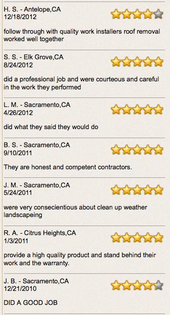 sacramento roofing testimonials