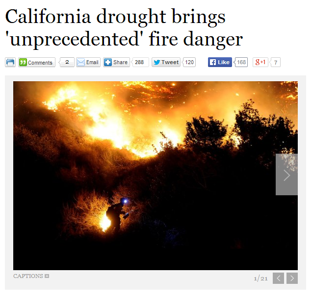 california drought brings unprecedented fire danger