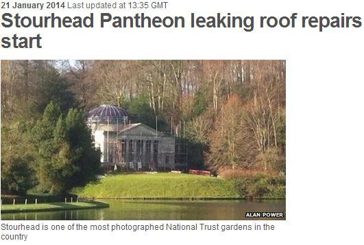 stourhead pantheon leaking roof repairs start